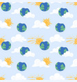 seamless pattern with sun cloud earth vector image