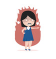 small girl angry standing pointing her finger vector image vector image