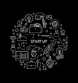 start up concept with line icons on black vector image