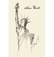 Statue Liberty drawn vintage sketch vector image