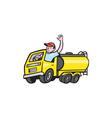 Tanker Truck Driver Waving Cartoon vector image vector image