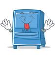 tongue out mailbox character cartoon style vector image vector image