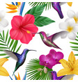 tropical pattern colibri with exotic flowers vector image vector image