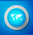 white world map icon isolated on blue background vector image vector image