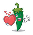 with heart green chili character cartoon vector image