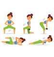 woman home workout exercising at home vector image vector image
