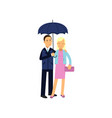 young family couple standing under blue umbrella vector image