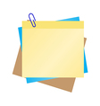 colorful post it with blue clip vector image
