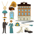 1910s symbols and retro fashion style clothes and vector image