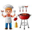 boy and bbq party elements vector image