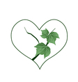 Branch of Green Leaves in Heart Shape vector image vector image