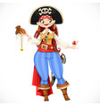 brave cartoon curvy pirate girl admiring loot vector image vector image