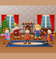 cartoon of group children singing in the christmas vector image vector image