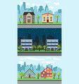 city street with cartoon houses vector image vector image
