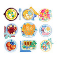 colorful food icons plates with various dishes vector image vector image