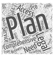 Comprehensive access plan Word Cloud Concept vector image vector image
