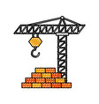 construction tower crane wall brick work vector image vector image