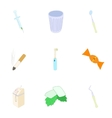 Dental treatment icons set cartoon style vector image vector image