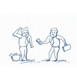 doodle business man giving money to worker paying vector image vector image