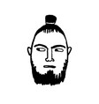 doodle sketch man with samurai hairstyle vector image vector image