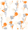 drawing seamless pattern with daisy flowers vector image vector image