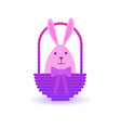 easter basket with cute rabbit icon isolated vector image