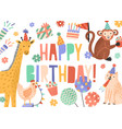 greeting card with bright happy birthday lettering vector image