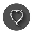 hand drawn hearts icon love with long shadow vector image