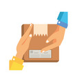 hands lifting box packing postal service vector image vector image