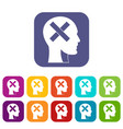 human head with cross inside icons set flat vector image vector image
