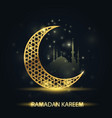 islamic crescent and silhouette mosque vector image vector image