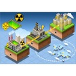 Isometric Infographic Atomic Energy Harvesting vector image