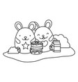 line cute mice with donuts and milk box vector image vector image