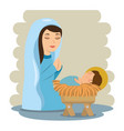merry christmas baby jesus lying in a manger with vector image vector image
