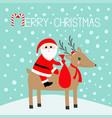 merry christmas santa claus holding gift bag vector image vector image