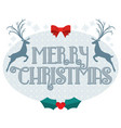 merry christmas text with reindeer silhouette vector image vector image