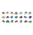 modern house icon set isometric style vector image vector image