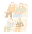 movies man and woman in cinema hall watching film vector image vector image