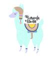 no drama llama hand lettering poster with alpaca vector image vector image