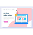 online education or courses landing page vector image vector image
