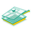 outline isometric grill pan with lid isolated on vector image vector image