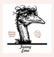 peeking funny emo - emo ostrich looks out from vector image vector image