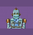 robot looks at the smartphone vector image vector image