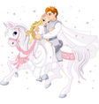 romantic couple on horse vector image
