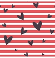 Seamless striped pattern with hearts vector image
