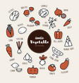 set of vegetable icons doodle vector image