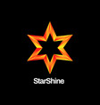 shiny orange star logo design vector image vector image