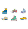 sport shoes icon set cartoon style vector image vector image