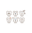 stomatology and dental line icons set cute happy vector image