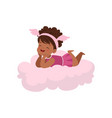 sweet happy african little girl lying on pink vector image vector image